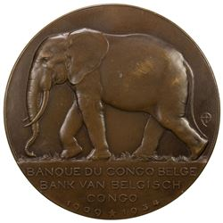 BELGIAN CONGO: AE medal (121.0g), 1934. AU