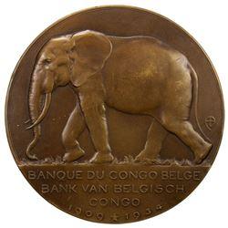 BELGIAN CONGO: AE medal (126.8g), 1934. AU