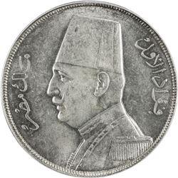 EGYPT: Fuad I, as King, 1922-1936, AR 20 qirsh, 1933/AH1352. PCGS MS64