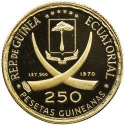 EQUATORIAL GUINEA: Republic, AV 250 pesetas, 1970. PF