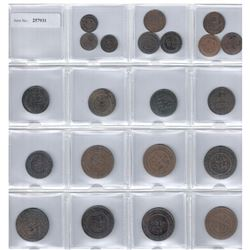 MOROCCO: LOT of 21 coins of Abdul Aziz 1894-1908, complete collection of bronze issues