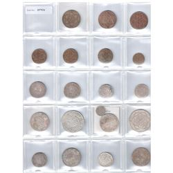 MOROCCO: LOT of 36 coins, an extensive collection of silver and bronze by date and mint