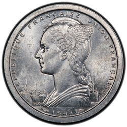 REUNION: 1 franc, 1948. PCGS MS64