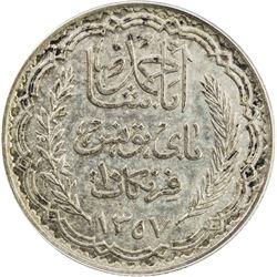 TUNISIA: French Protectorate, AR 10 francs, AH1357. ANACS EF45
