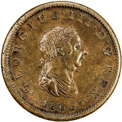 BAHAMAS: George III, 1760-1820, AE penny, 1806. PF