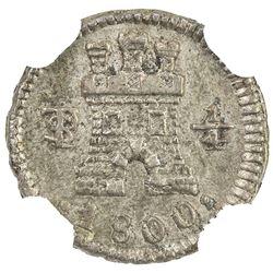 BOLIVIA: Carlos IV, 1788-1808, AR 1/4 real, 1800-PTS. NGC AU