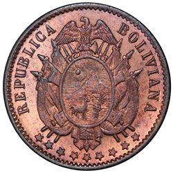 BOLIVIA: Republic, AE centavo, 1883. PCGS SP