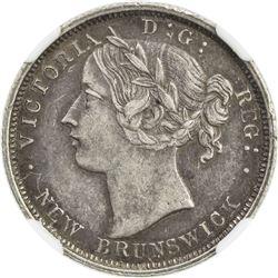 NEW BRUNSWICK: Victoria, 1837-1867, AR 20 cents, 1864. NGC EF45