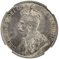 CANADA: George V, 1910-1936, AR 50 cents, 1918. NGC MS62