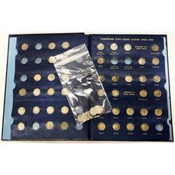 CANADA: LOT of 57 silver 5 cent coins, retail value $500