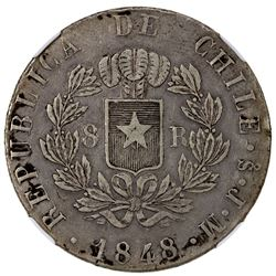 CHILE: Republic, AR 8 reales, 1848-So. NGC VF35