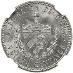 CUBA: Republic, AR 20 centavos, 1915. NGC MS63