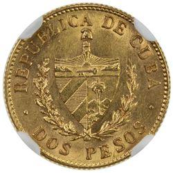 CUBA: Republic, AV 2 pesos, 1916. MS62