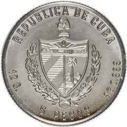 CUBA: Republic, AR 5 pesos, 1983. PCGS MS67