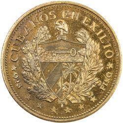 CUBA: Republic, AE souvenir peso, 1965. PF