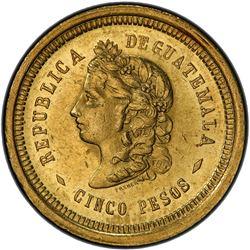 GUATEMALA: Republic, AV 5 pesos, 1877. PCGS MS61