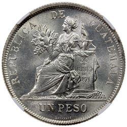 GUATEMALA: Republic, AR peso, 1896. NGC MS63