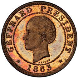HAITI: Republic, AE 10 centimes, 1863-HEATON. PCGS SP