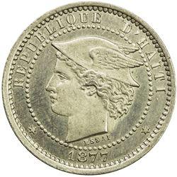 HAITI: 20 centimes (4.92g), 1877. UNC