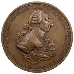 MEXICO: Carlos III, 1759-1788, AE medal (145.7g), 1789. EF