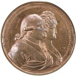 MEXICO: Carlos IV, 1788-1808, AE proclamation medal, 1790. NGC MS65