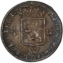 NETHERLANDS WEST INDIES: Dutch Republic, AR 1/4 gulden, 1794. PCGS MS64