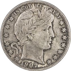 UNITED STATES: 50 cents, 1907-D, ANACS graded MS63, Barber type, lovely toning