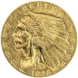 UNITED STATES: 2½ dollars (Indian), 1928, EF to AU
