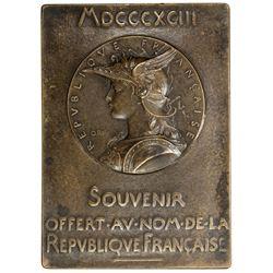 UNITED STATES: AE plaque, 1893 (138.3g). EF