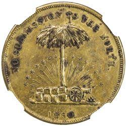UNITED STATES: brass token, 1860. AU