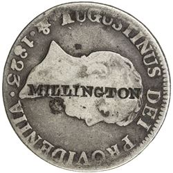 UNITED STATES: Bruml-M709A, VF on Fine host, MILLINGTON countermarked on Mexico 2 reales