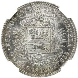 VENEZUELA: Republic, AR bolivar, 1912. NGC MS61