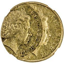 NEW ZEALAND: Elizabeth II, 1952-, 2 dollars, 2008. NGC AU55