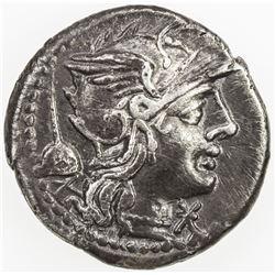 ROMAN REPUBLIC: T. Quinctius Flamininus, AR denarius (3.83g), Rome. VF