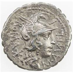 ROMAN REPUBLIC: M. Aurelius Scaurus, AR serrate denarius (3.82g), Narbo. VF