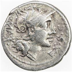 ROMAN REPUBLIC: M. Sergius Silus, AR denarius (3.77g), Rome. F-VF