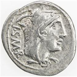 ROMAN REPUBLIC: L. Thorius Balbus, AR denarius (3.93g), Rome. VF