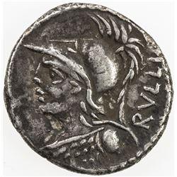 ROMAN REPUBLIC: P. Servilius M.f. Rullus, AR denarius (3.75g), Rome. VF
