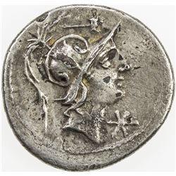 ROMAN REPUBLIC: C. Poblicius Malleolus, fourree denarius (3.29g). VF