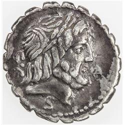 ROMAN REPUBLIC: Q. Antonius Balbus, AR serrate denarius (3.79g), Rome. VF
