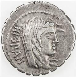 ROMAN REPUBLIC: A. Postumius A.f. Sp.n. Albinus, AR serrate denarius (3.77g), Rome. VF