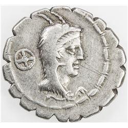 ROMAN REPUBLIC: L. Papius, AR serrate denarius (4.01g), Rome. F-VF