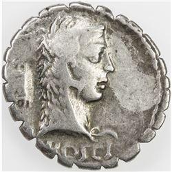 ROMAN REPUBLIC: L. Roscius Fabatus, AR serrate denarius (3.84g), Rome. F-VF
