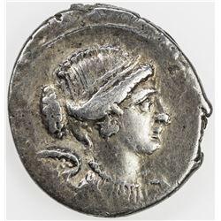 ROMAN REPUBLIC: T. Carisius, moneyer, AR denarius (3.74g), Rome. VF