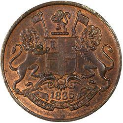 BRITISH INDIA: William IV, 1830-1837, AR 1/4 anna, 1835 (c). PCGS MS64