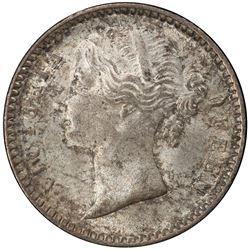 BRITISH INDIA: Victoria, as Queen, 1837-1876, AR 1/4 rupee, 1840 (b & c). PCGS MS64
