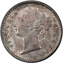 BRITISH INDIA: Victoria, as Queen, 1837-1876, AR 2 annas, 1841 (c). PCGS MS65