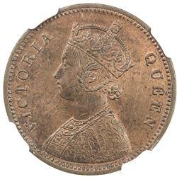 BRITISH INDIA: Victoria, as Queen, 1837-1876, AE 1/4 anna, 1862 (c). NGC MS64