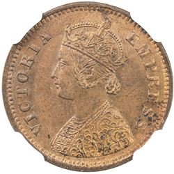 BRITISH INDIA: Victoria, as Empress, 1877-1901, AE 1/2 pice, 1885 (c). NGC MS64