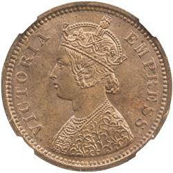 BRITISH INDIA: Victoria, as Empress, 1877-1901, AE 1/2 pice, 1888 (c). NGC MS64